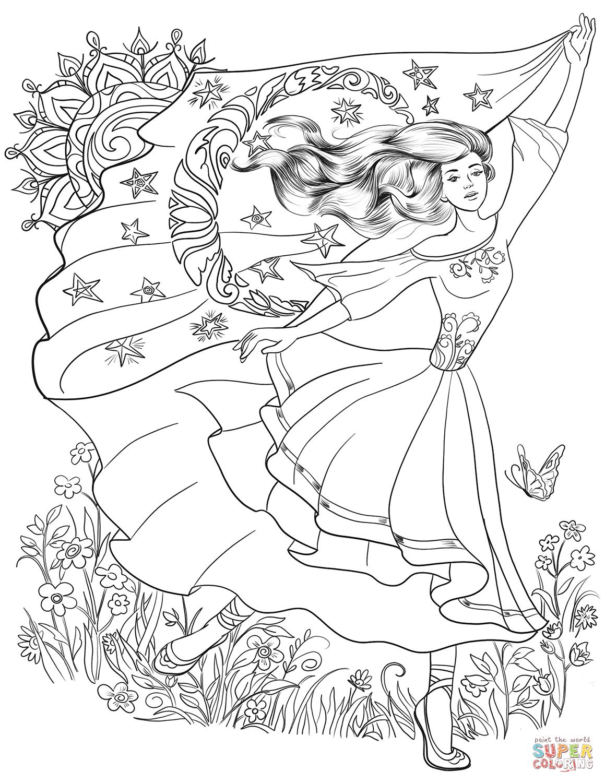 Pagan Girl Dancing Coloring Page