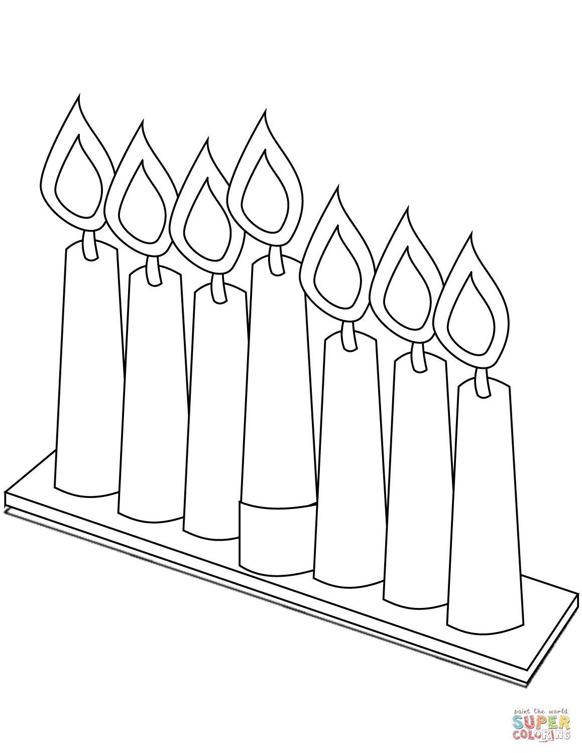 Seven Candles For Kwanzaa Coloring Page