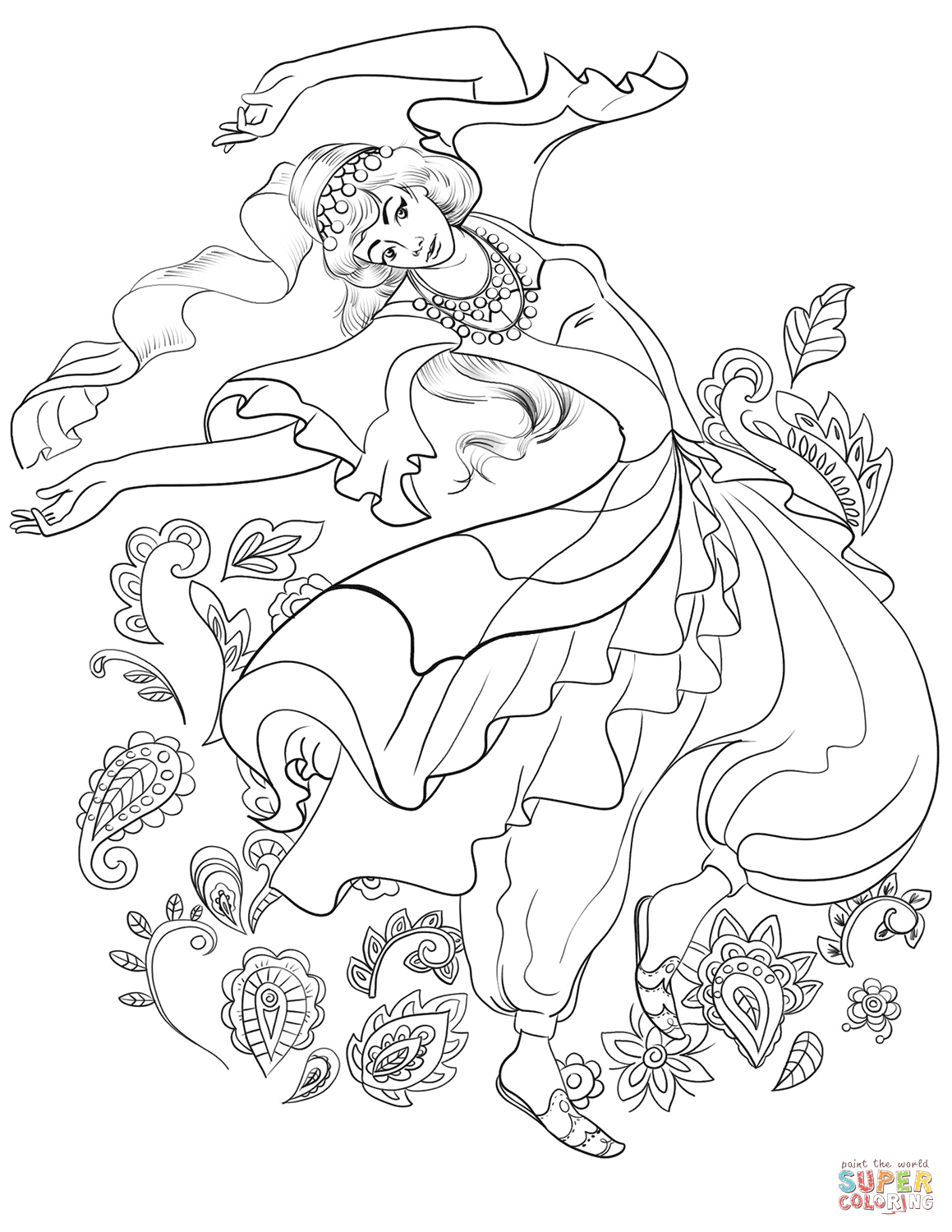 Turkish Woman Dancing In Traditional Dress Coloring Page