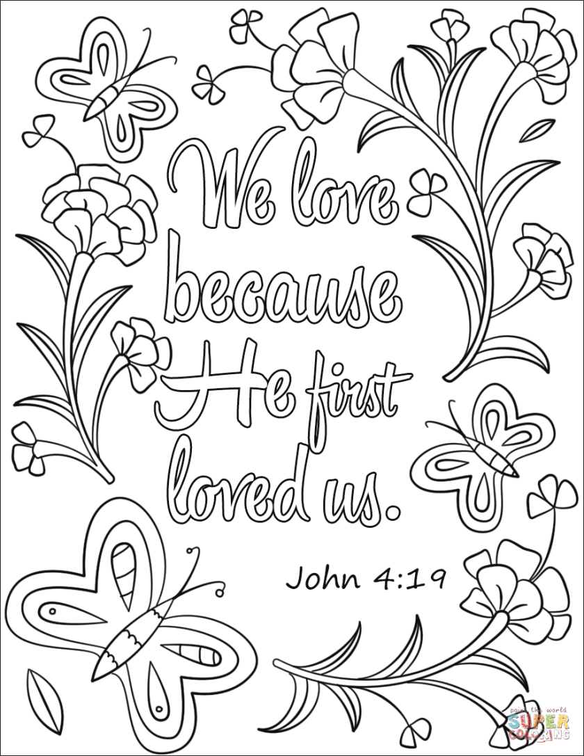 we love because he first loved us coloring page  free