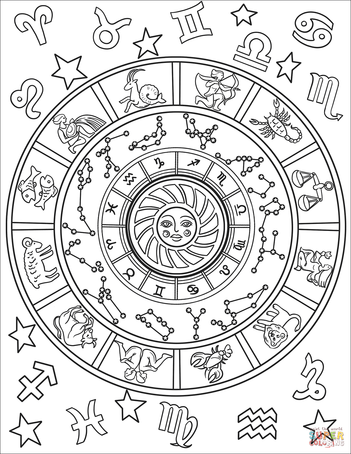 12 Astrological Signs Coloring Page