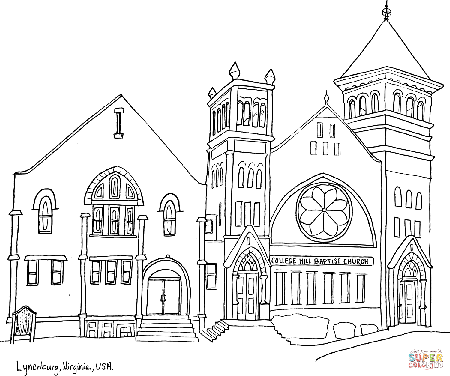 College Hill Baptist Church In Lynchburg Virginia Coloring