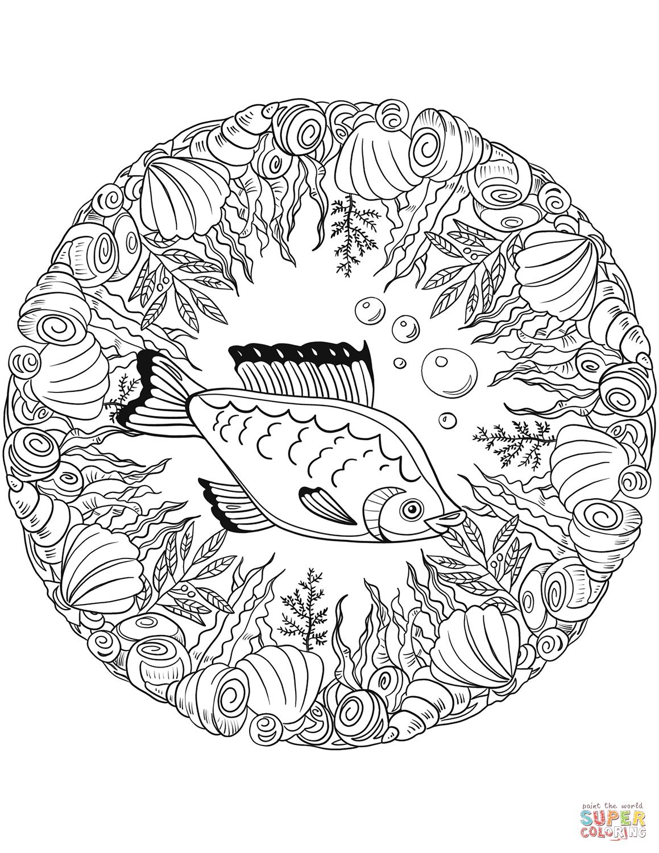 Fish Mandala Coloring Page Free Printable Coloring Pages