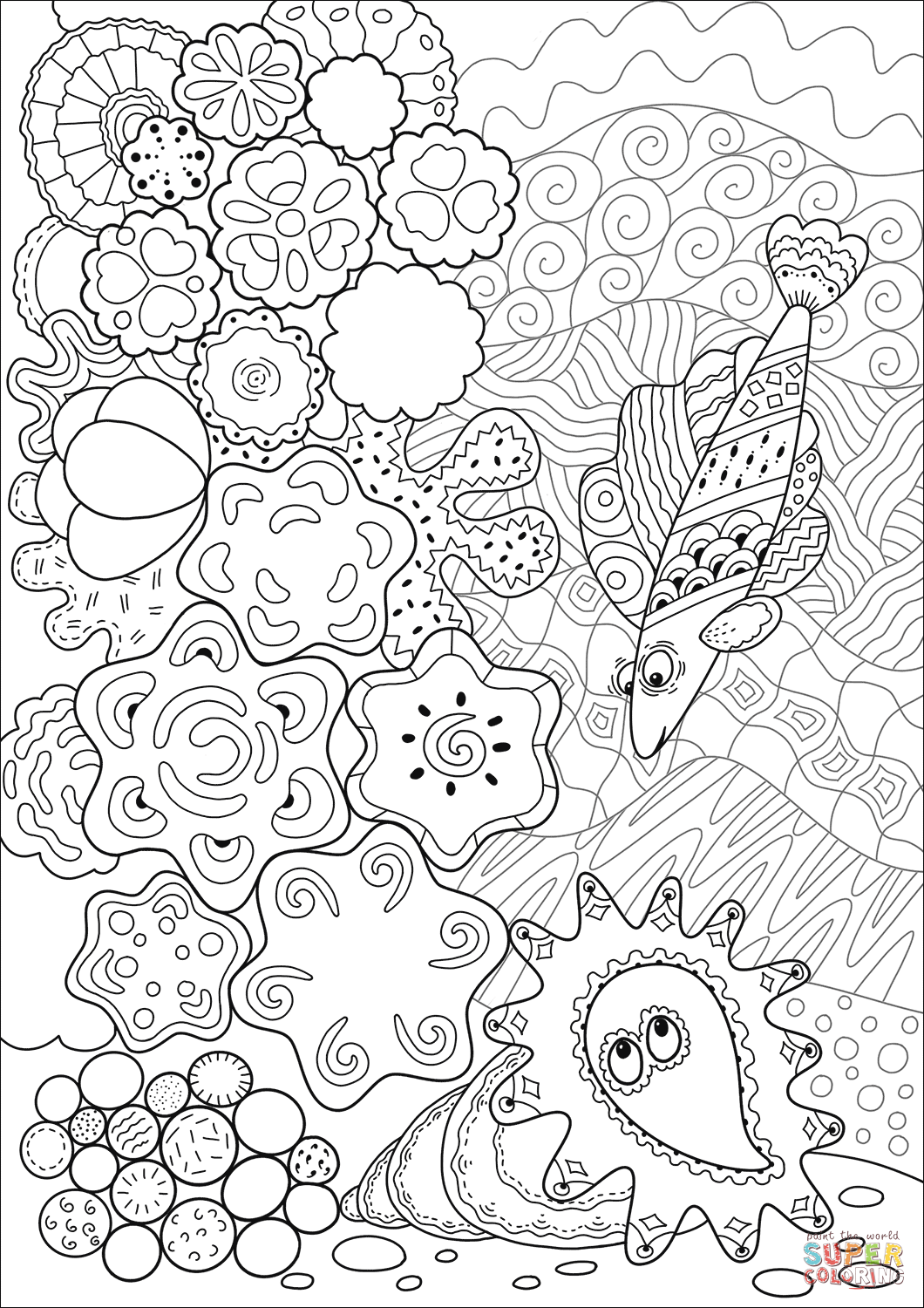 Grouper Found A Sea Shell In Coral Reef Coloring Page