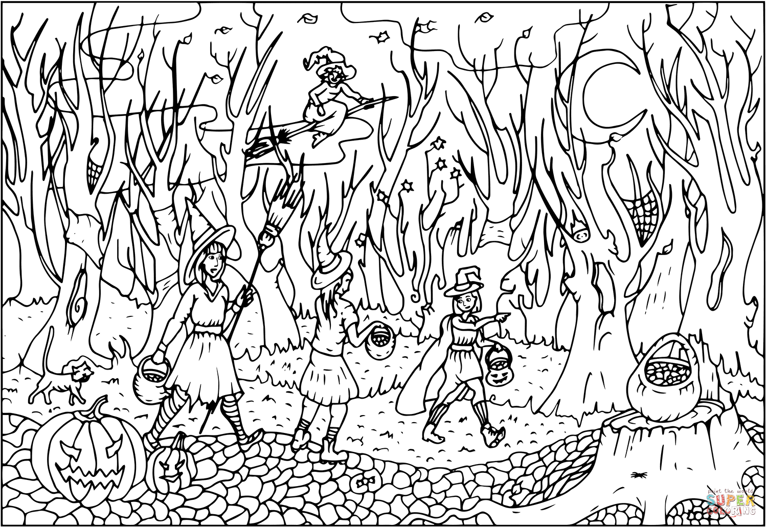 Halloween Witches Going On Party Through The Creepy Woods