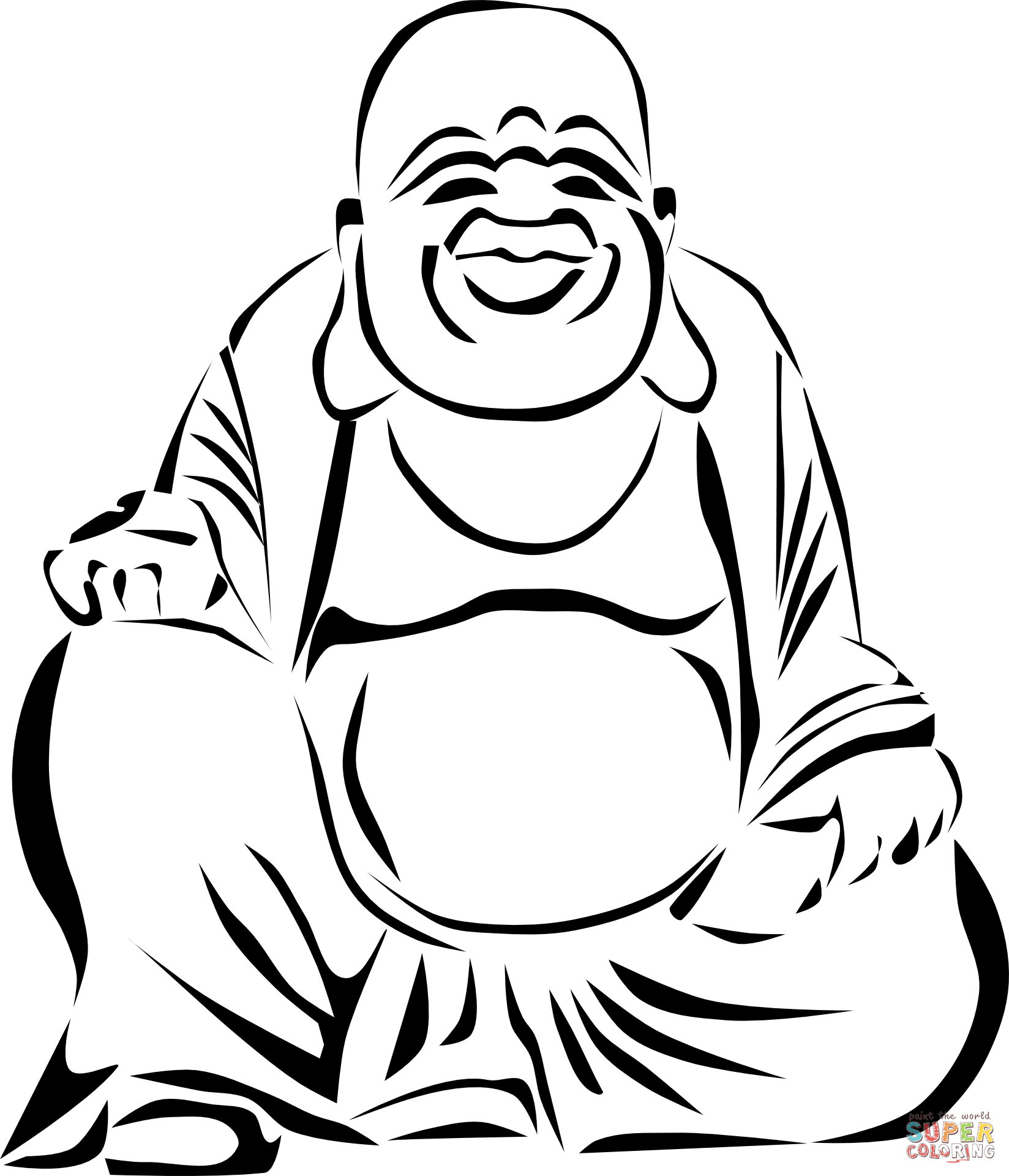 Laughing Buddha Coloring Page