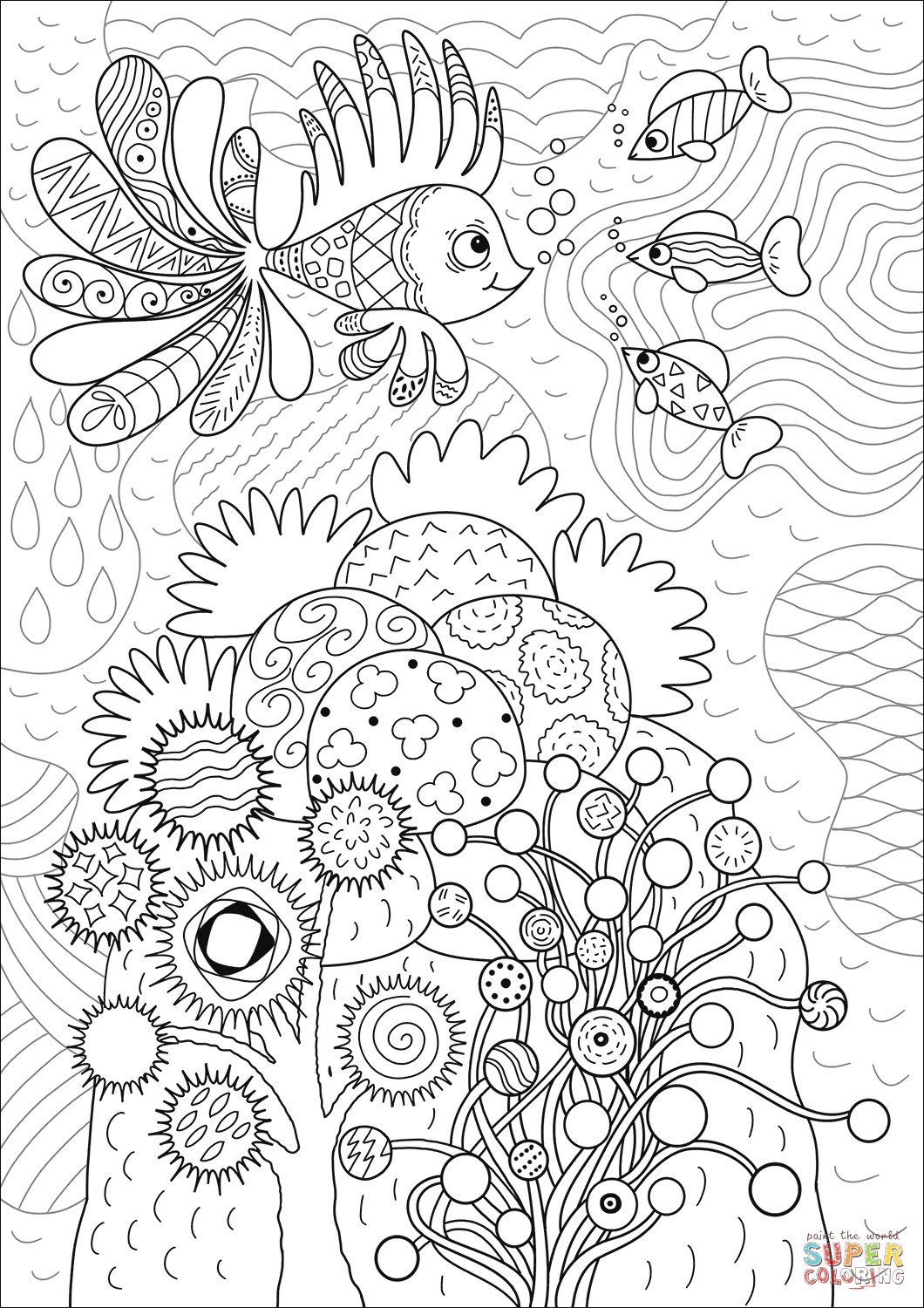 Coral Reef Coloring Paper Coloring Pages