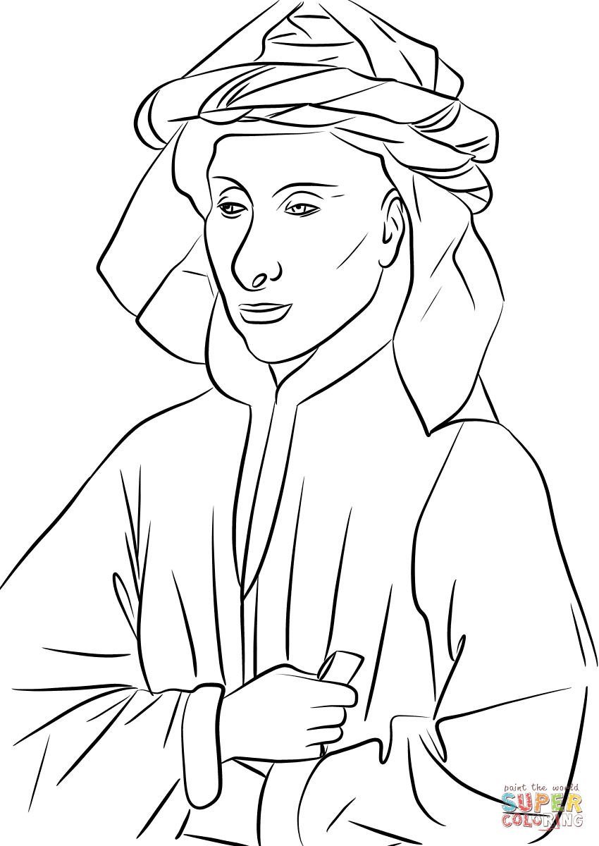 Portrait Of Giovanni Arnolfini By Jan Van Eyck Coloring Page