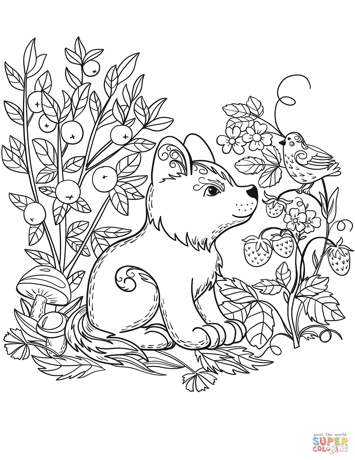 Puppy Dog In The Forest Coloring Page