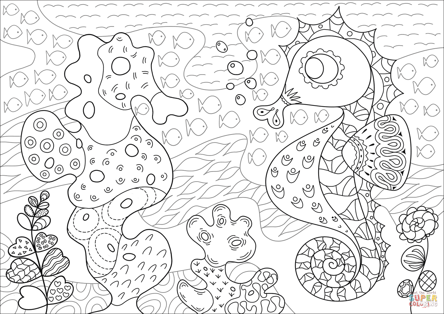 Seahorse And Its Coral Reef Imitator Coloring Page