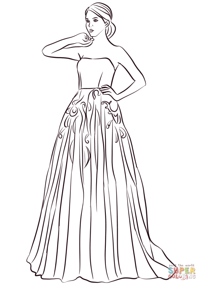 Strapless Long Prom Dress coloring page  Free Printable Coloring