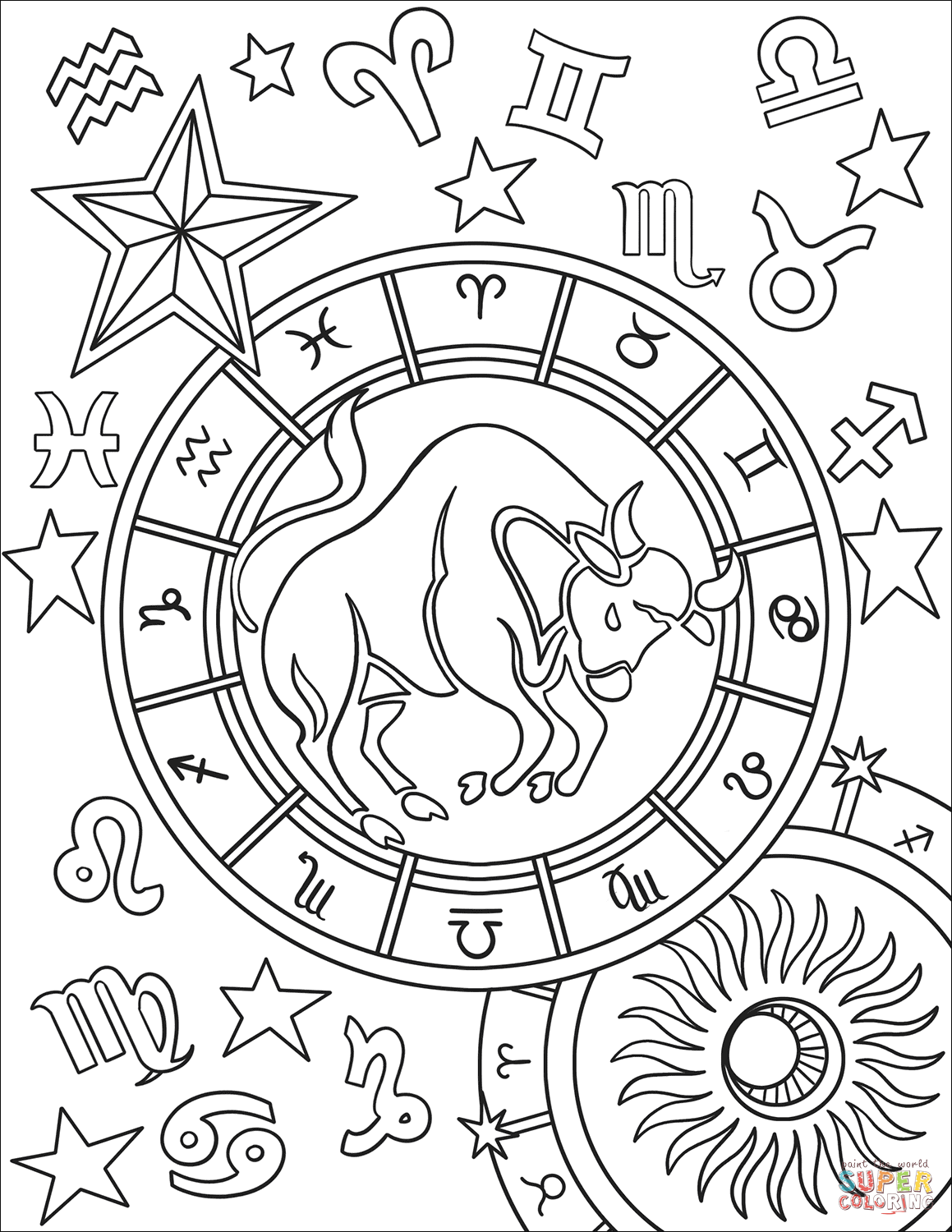 Chinese Zodiac Symbol Sheet Coloring Pages