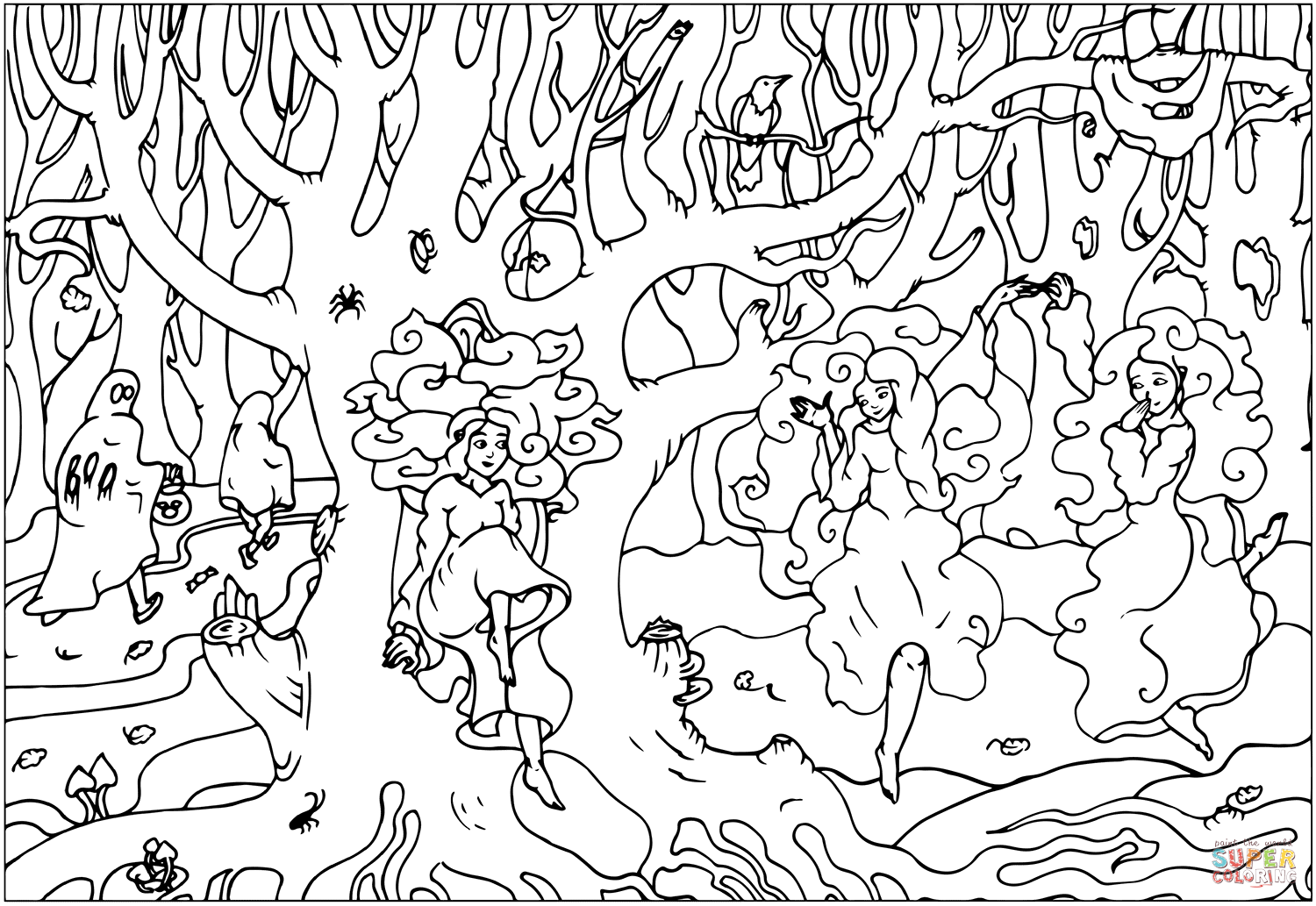 Three Ghosts In A Haunted Woods Coloring Page