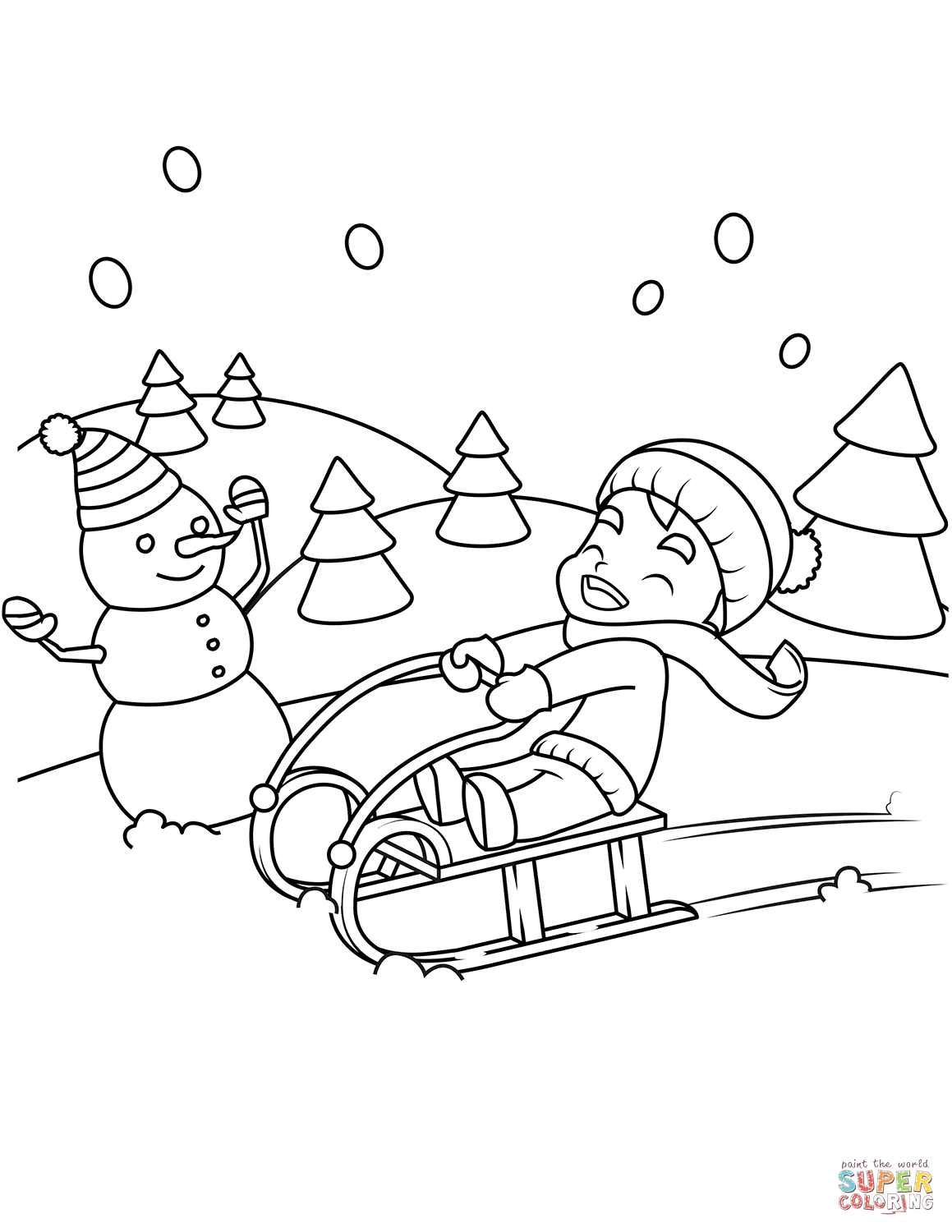 Little Boy Riding A Sledge Coloring Page