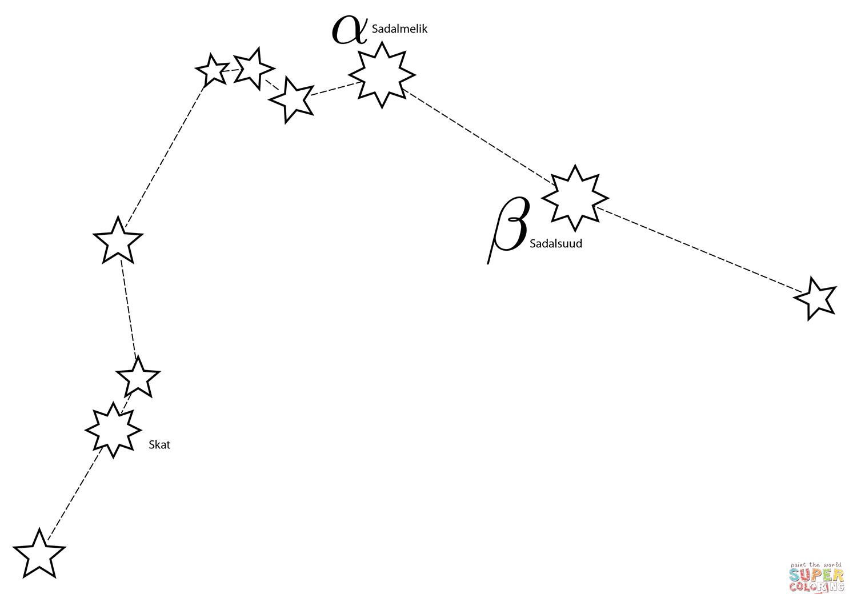 Aquarius Constellation Coloring Page