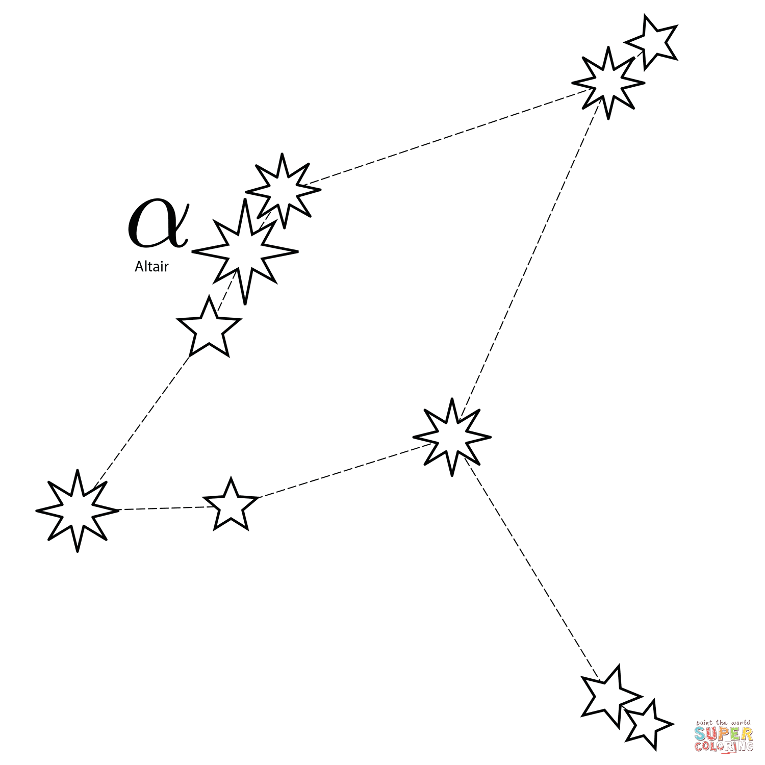 Aquila Constellation Coloring Page