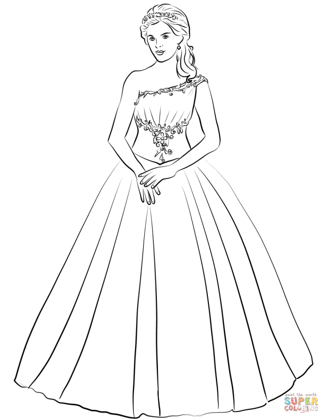 Ball Gown One Shoulder Quinceanera Dress coloring page  Free