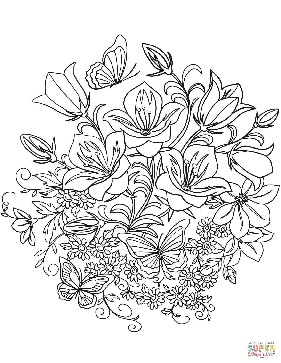 Butterfly And Flowers Coloring Page