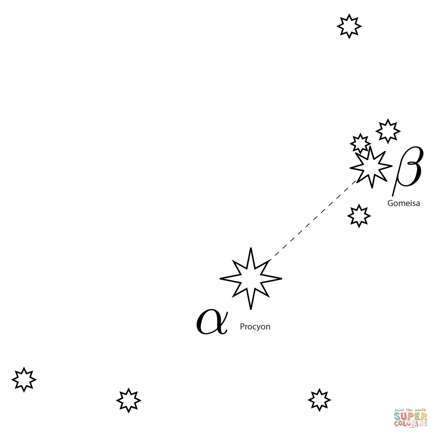 Canis Minor Constellation Coloring Page