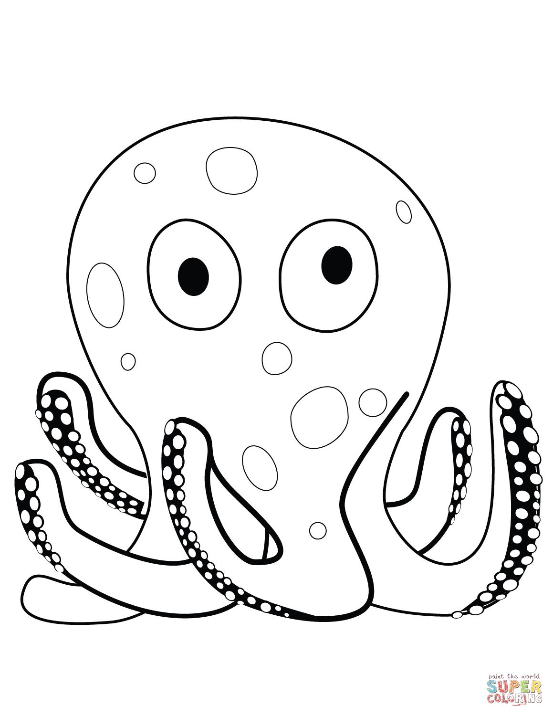 Cartoon Octopus Coloring Page