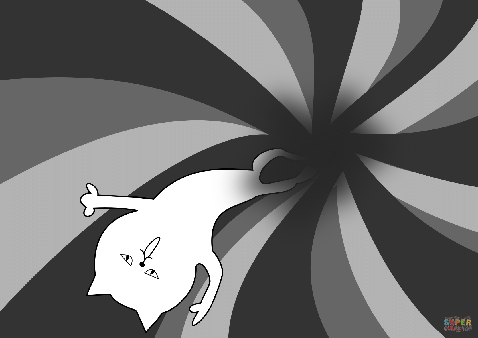 Cat In Black Hole Coloring Page