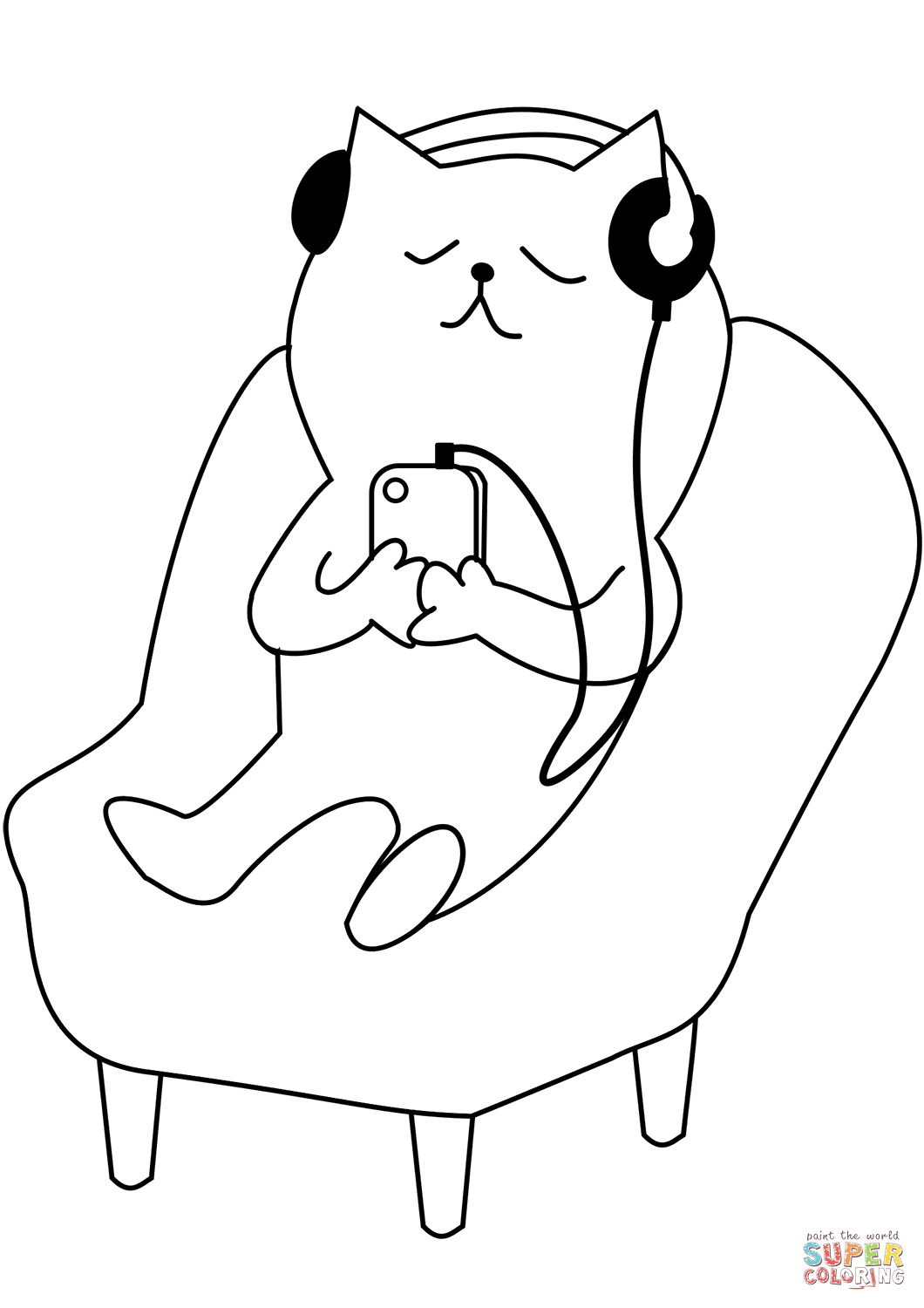 Cat Listening To Music Coloring Page