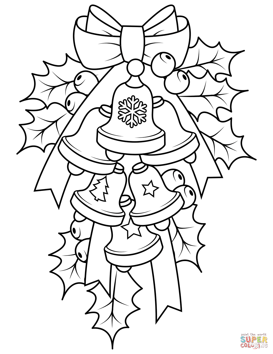 Christmas Bells And Holly Coloring Page