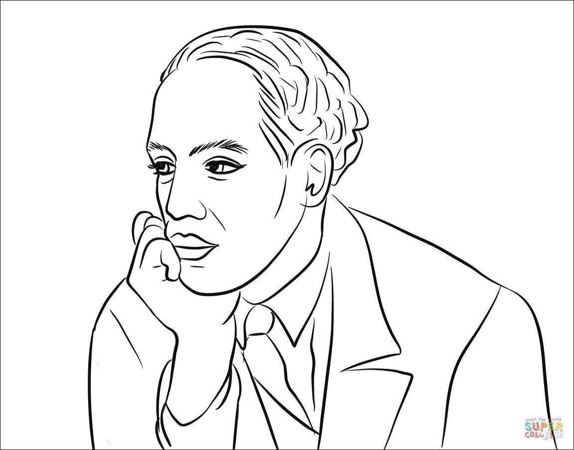 Desenho De Langston Hughes Para Colorir
