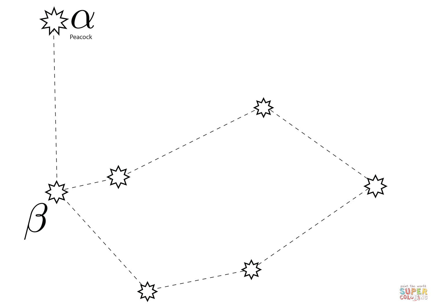 Pavo Constellation Coloring Page