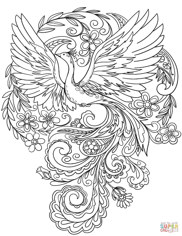 Dibujo De Pavo Real En Flores Para Colorear