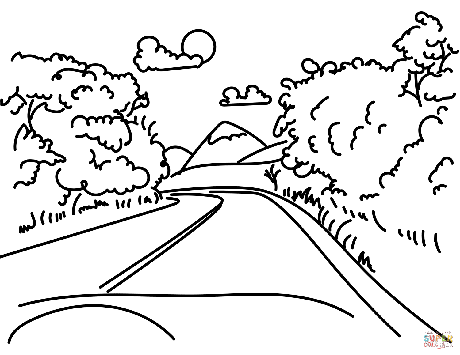 Road In Mountain Coloring Page