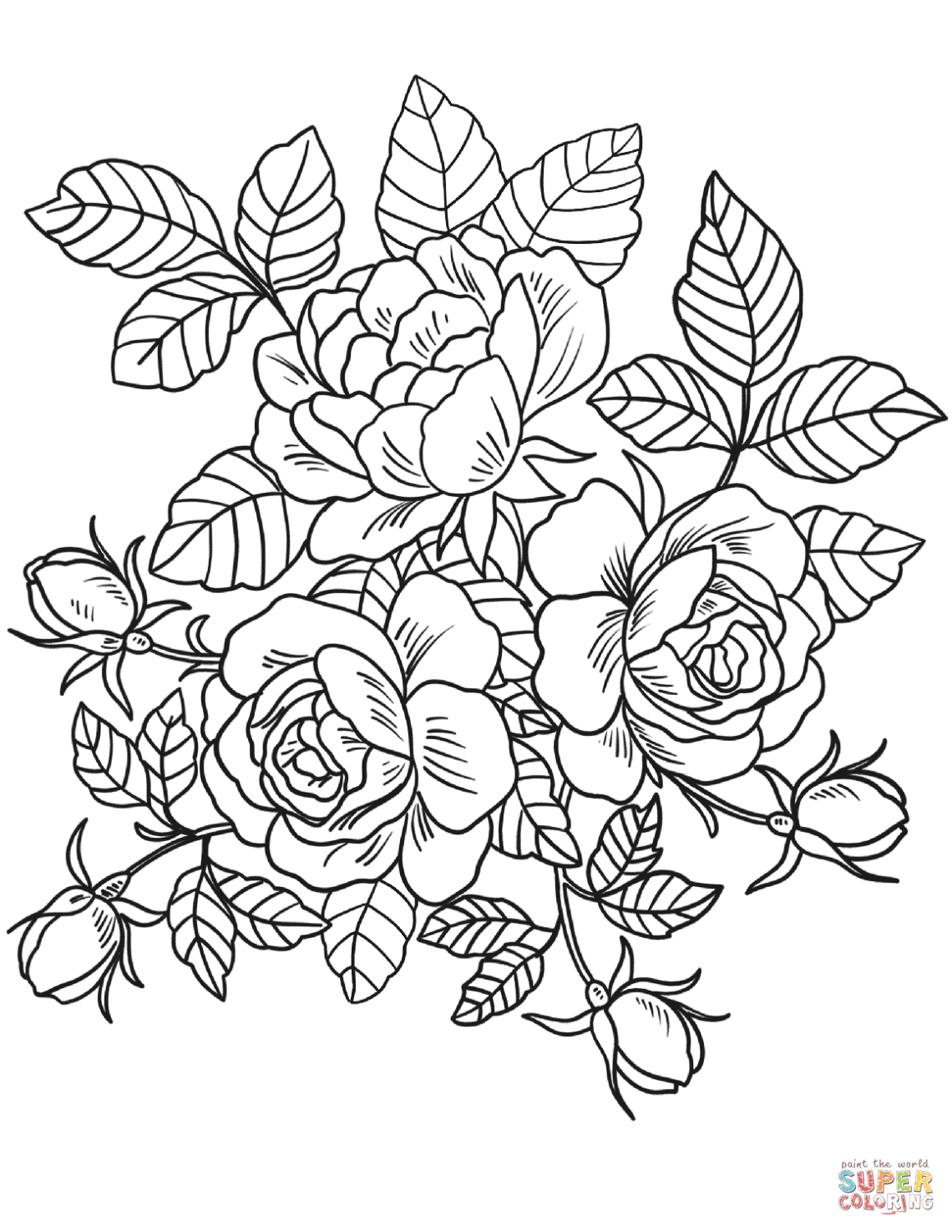 Roses Flowers coloring page | Free Printable Coloring Pages | free printable flower coloring pages