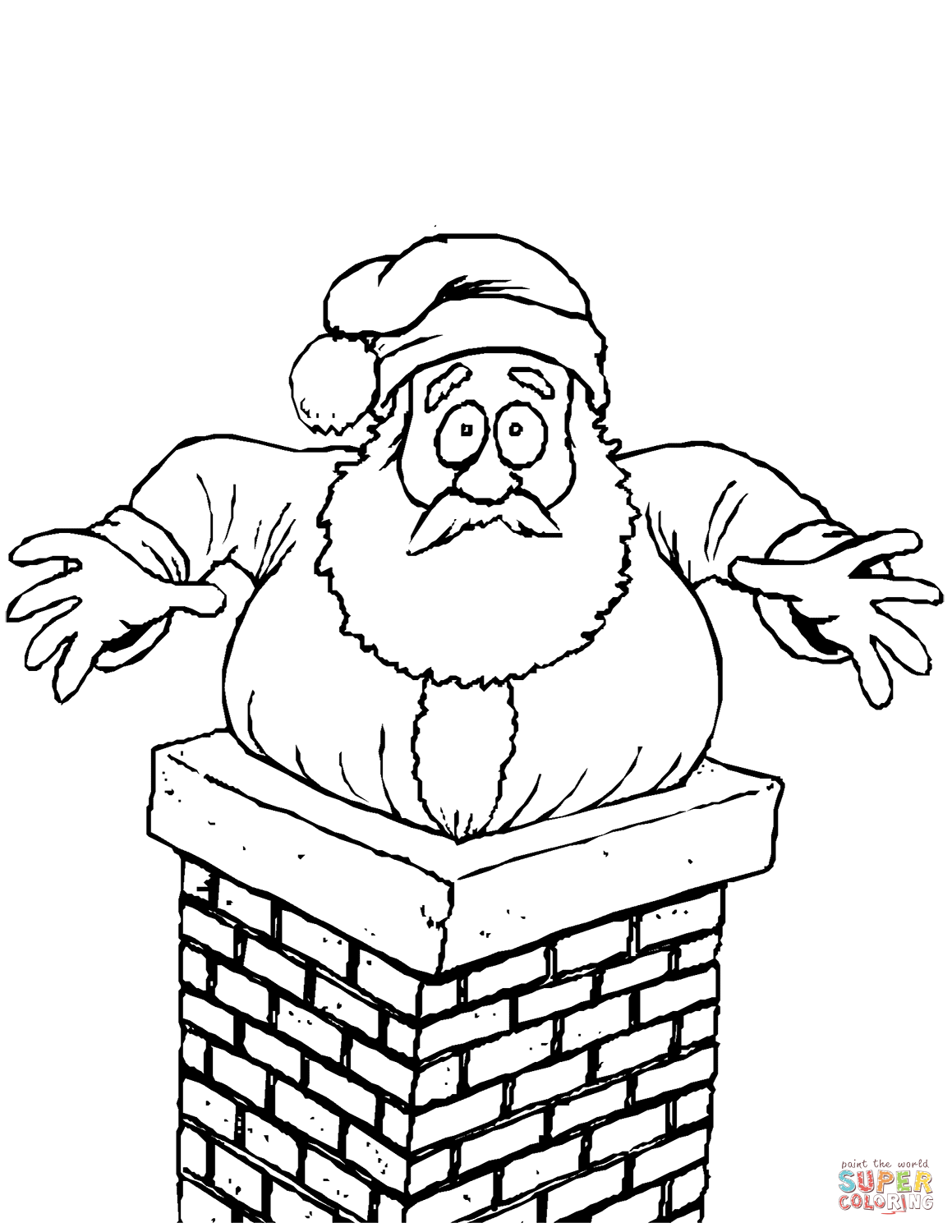 Santa Stuck In The Chimney Coloring Page