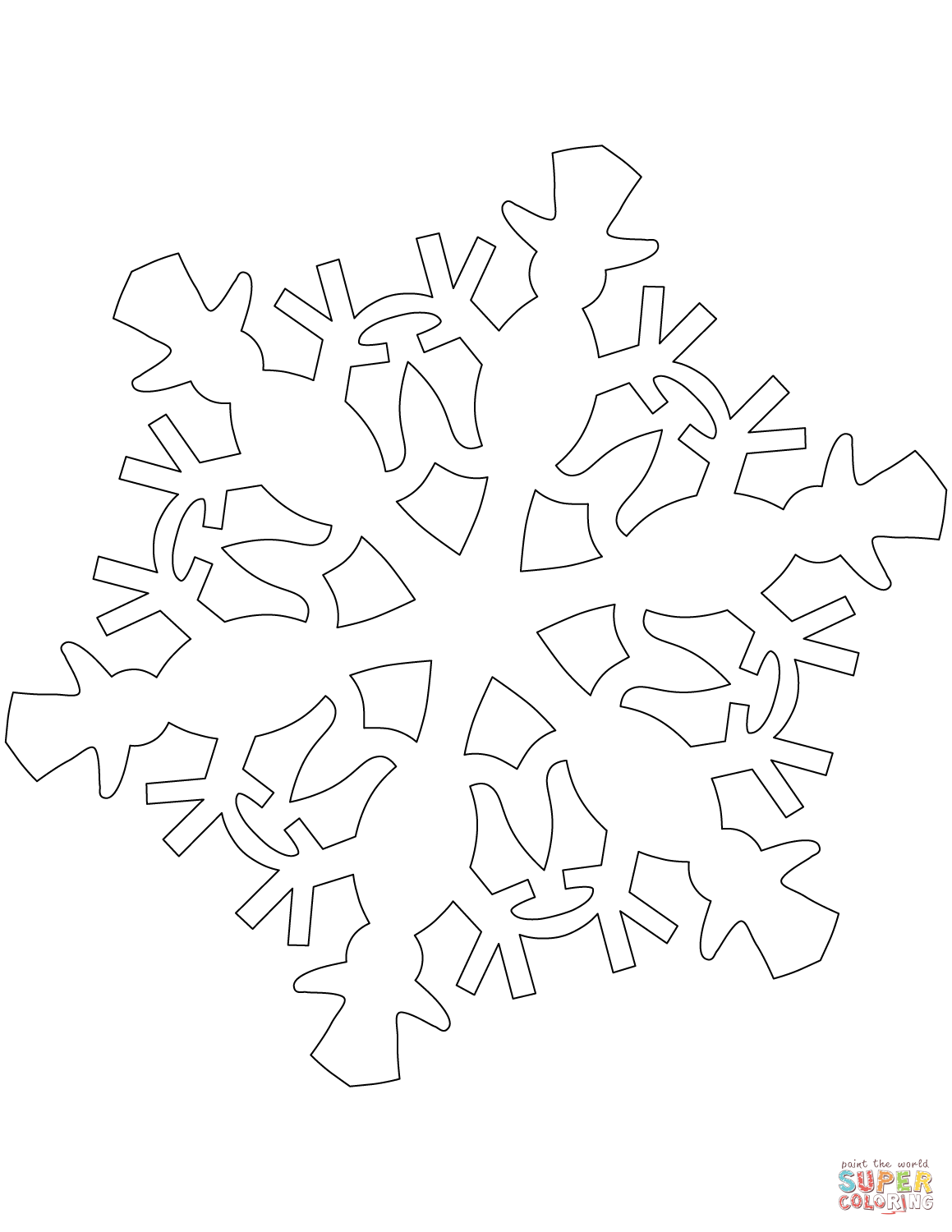 Snowflake Pattern With Snowman Coloring Page