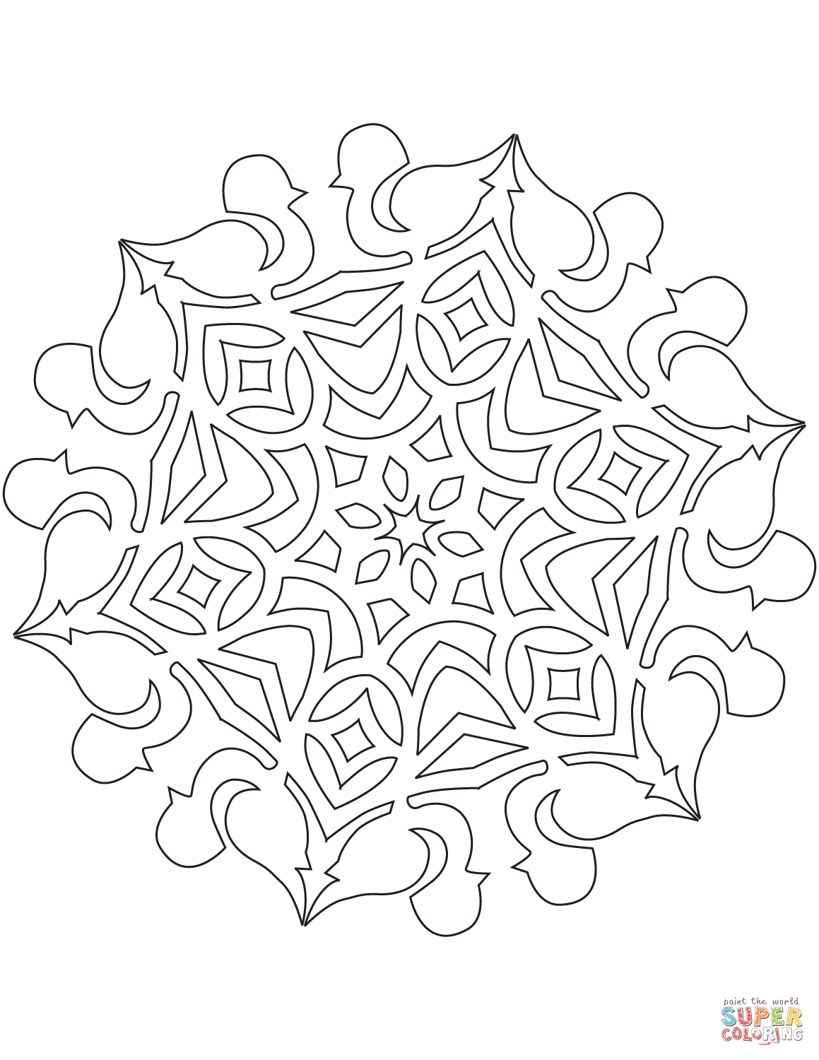 Snowflake With Bullfinch Bird Coloring Page