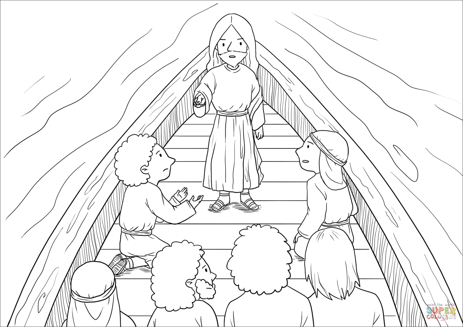 Jesus Calms The Storm Mark 4 35 41 Coloring Page