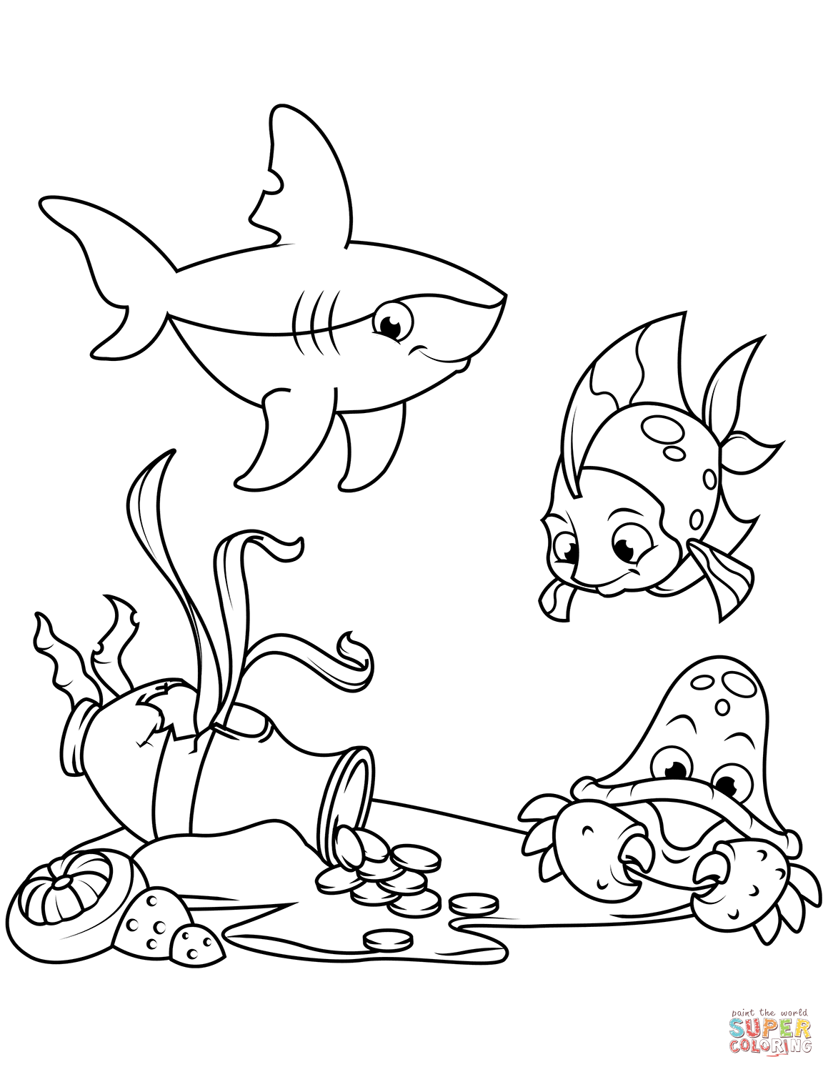 Amphora With Coins On Sea Bottom Coloring Page