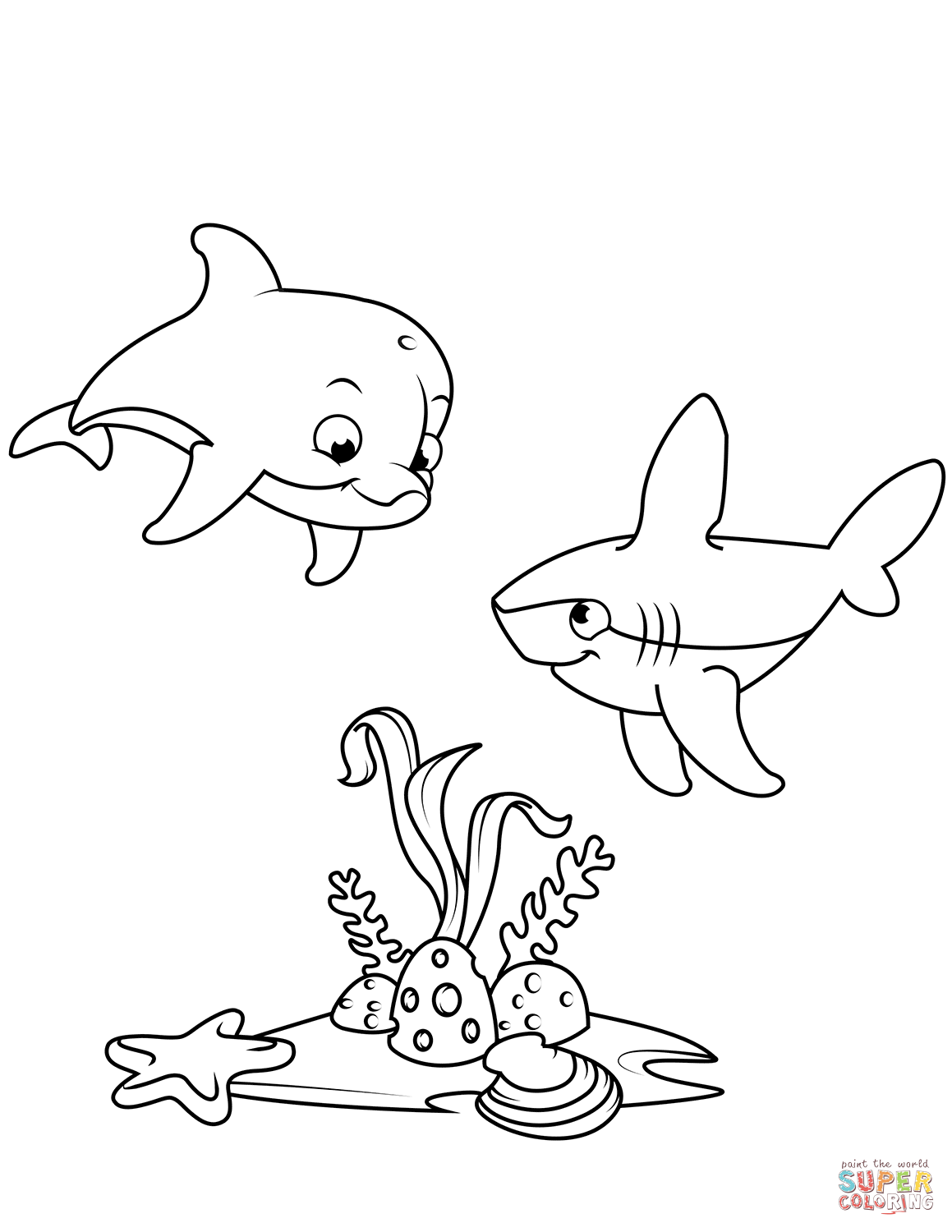 Cute Dolphin And Shark Coloring Page Free Printable Coloring Pages