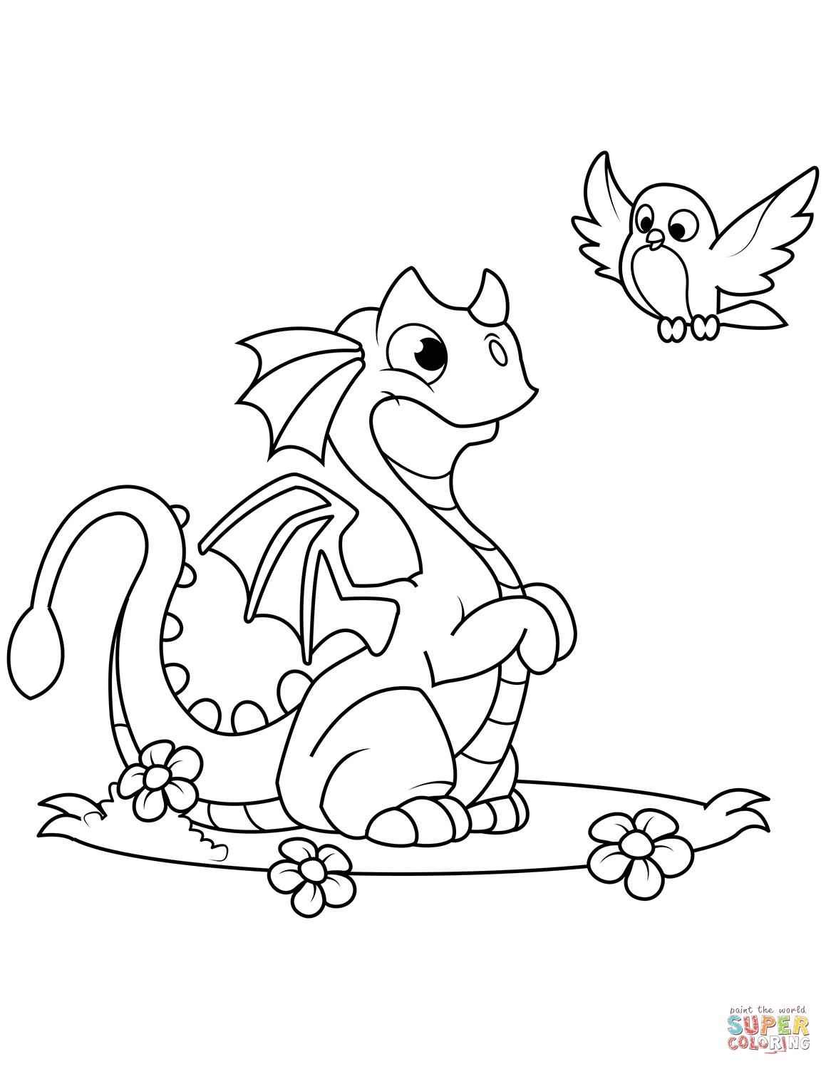 Cute Dragon And Bird Coloring Page