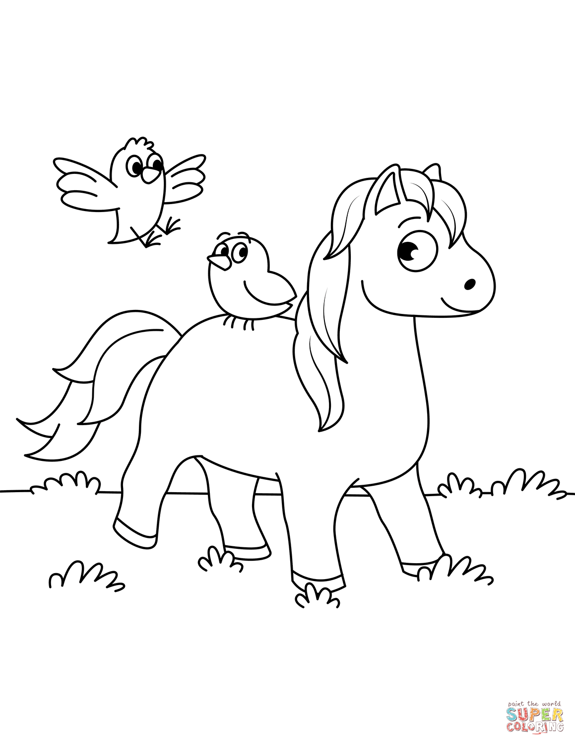 Cute Horse And Two Little Birds Coloring Page