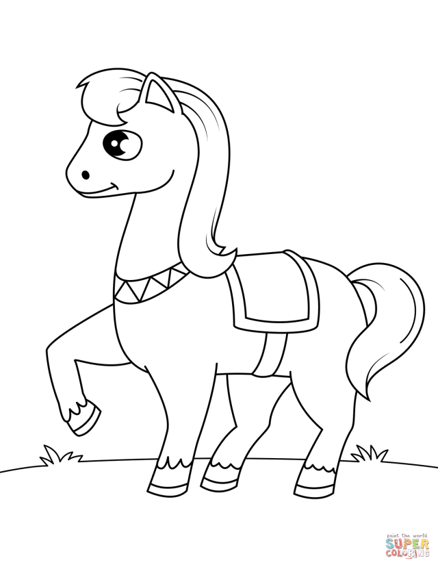Cute Pony Horse coloring page  Free Printable Coloring Pages