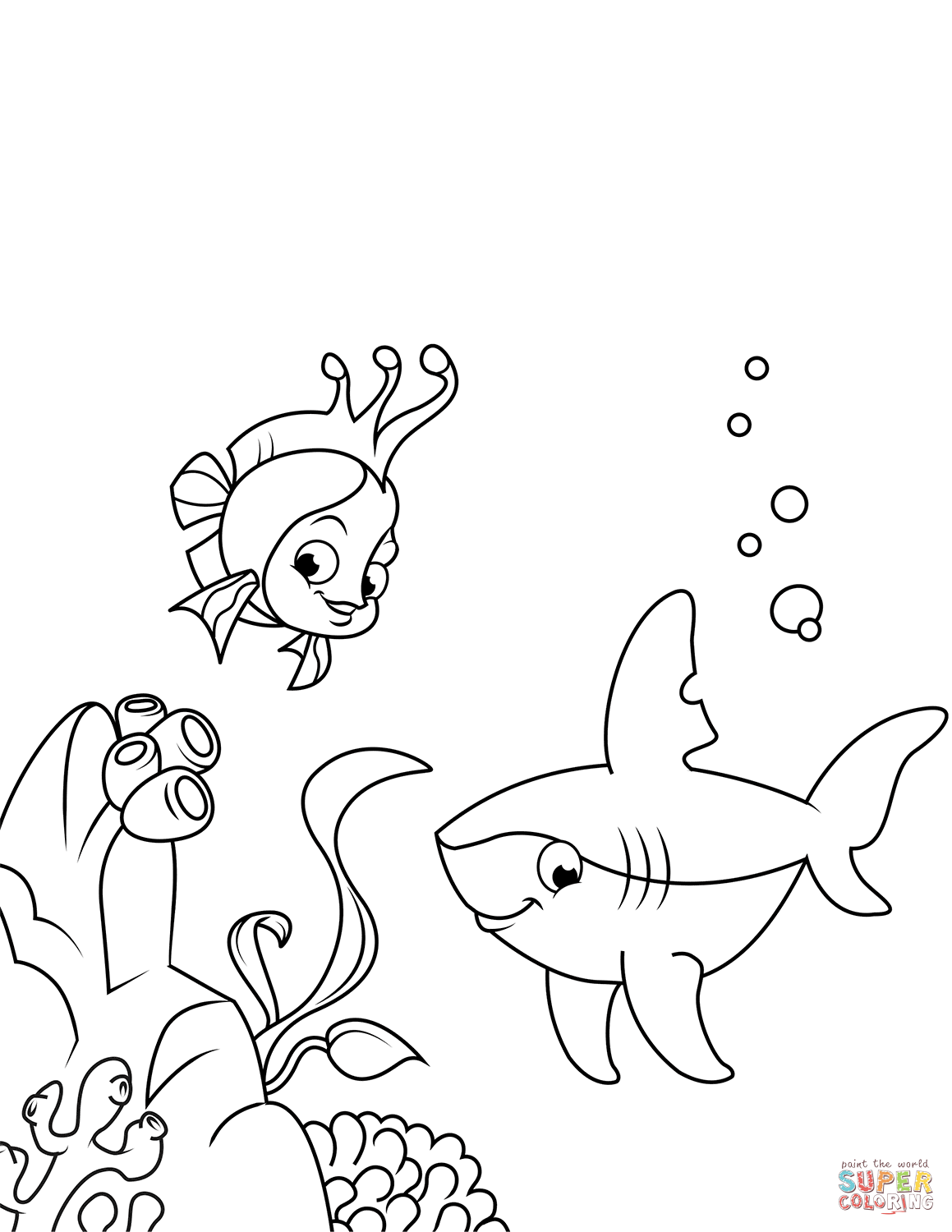 Cute Shark And Coral Reef Fish Coloring Page Free Printable