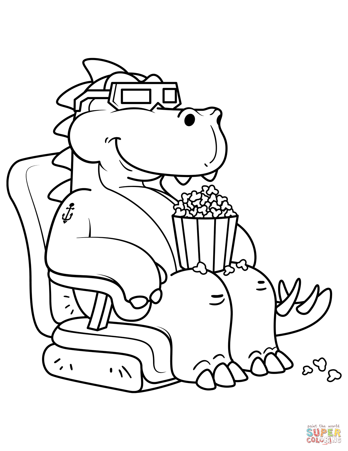 Tyrannosaurus Eating The Popcorn In The Cinema Coloring