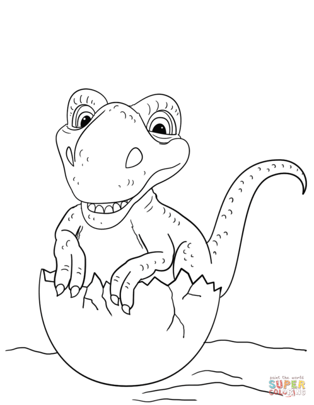 Dinosaur Hatching from Egg coloring page  Free Printable Coloring