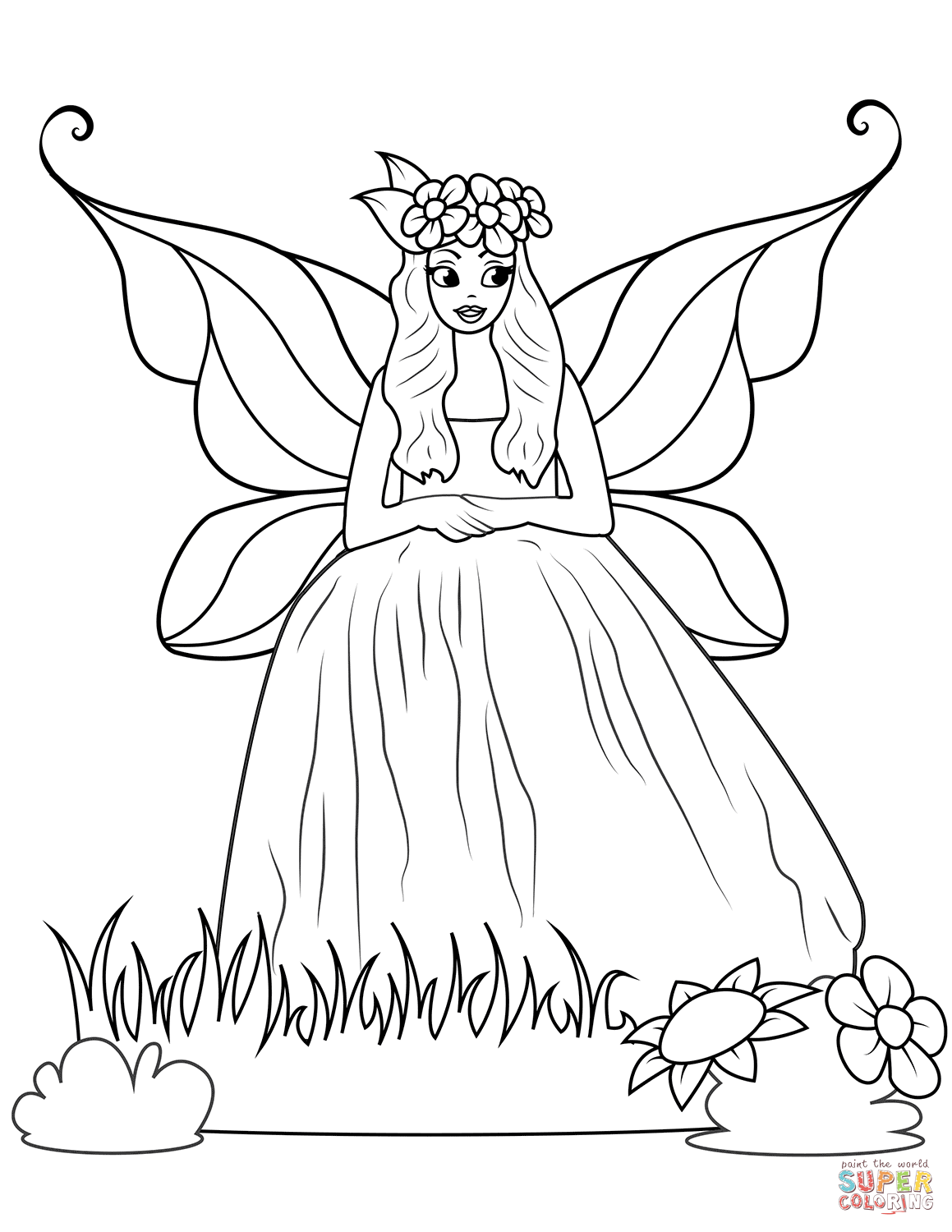 Fairy In Ball Gown Dress Coloring Page Free Printable Coloring Pages