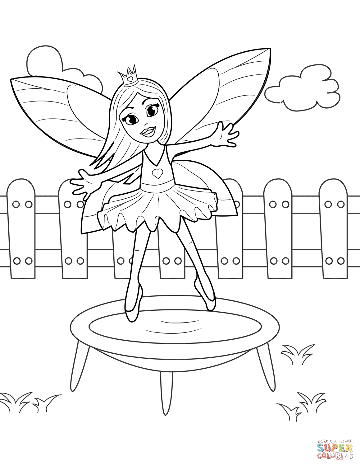 Fairy Jumping On Trampoline Coloring Page