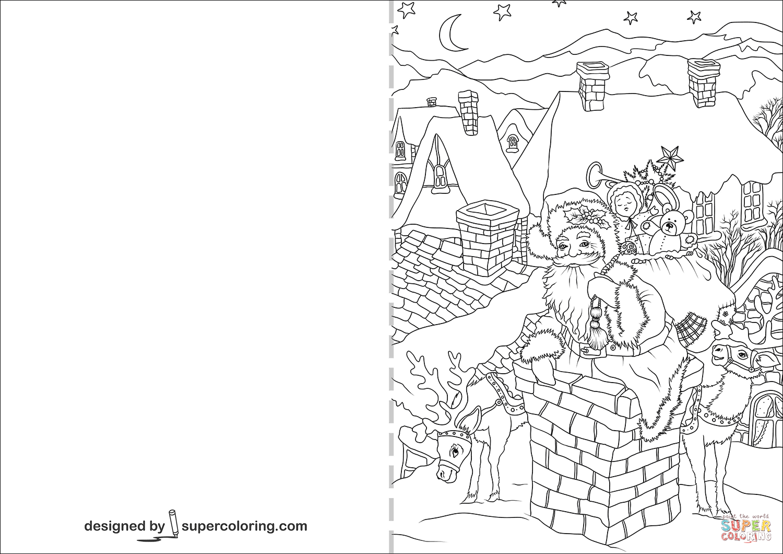 Santa Claus Is Going Down Through A Chimney Christmas Card