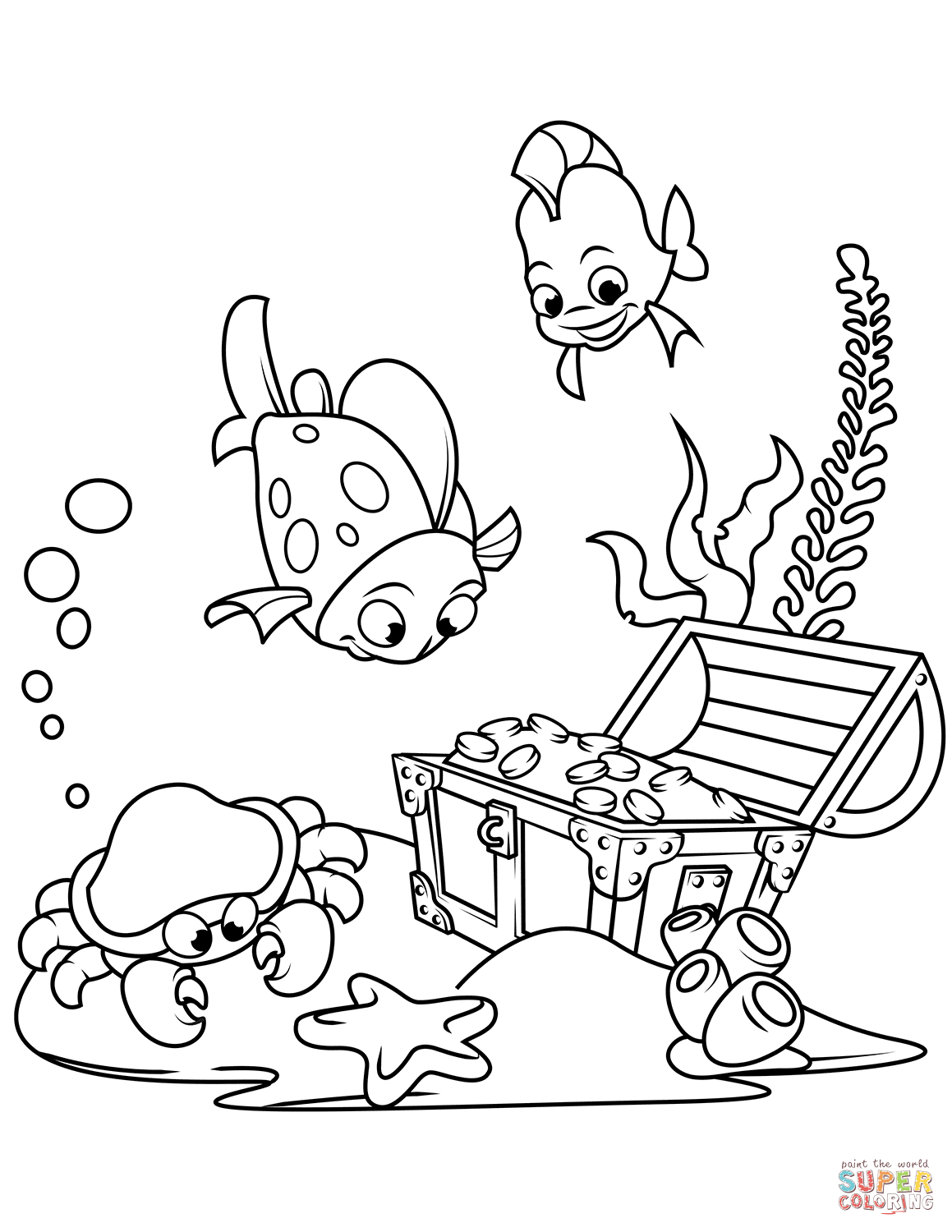 Treasure Chest On The Bottom Of The Sea Coloring Page