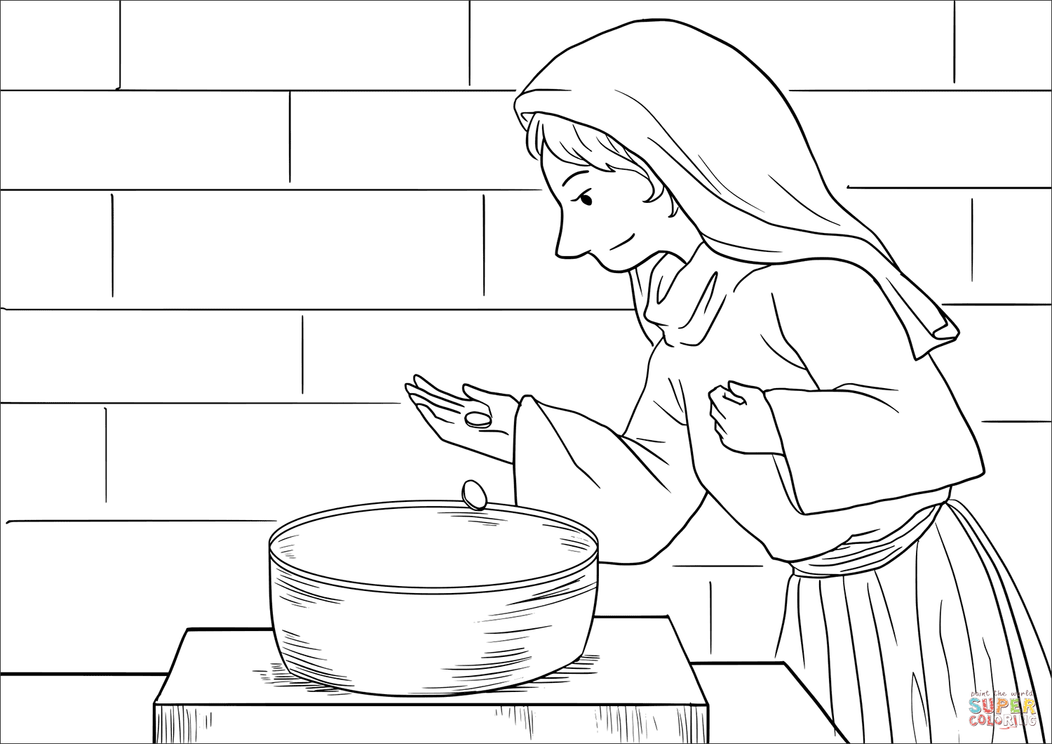 The Widow S Offering Mark 12 41 44 Coloring Page