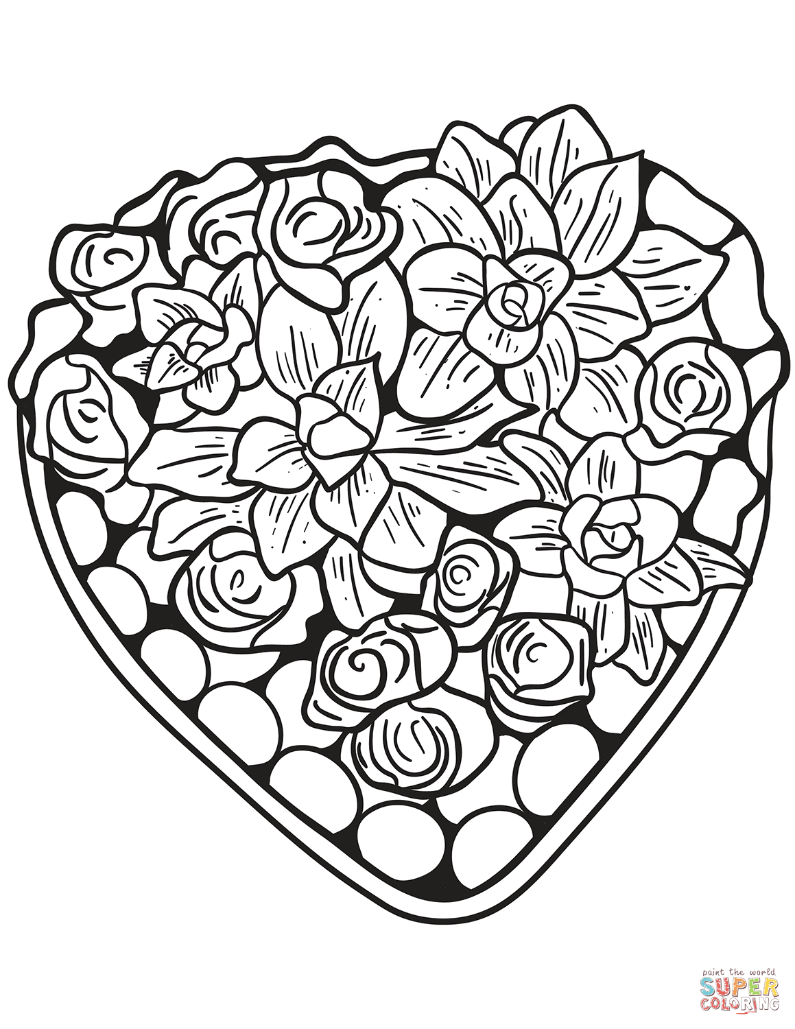 Heart Made Of Flowers Coloring Page Free Printable Coloring Pages